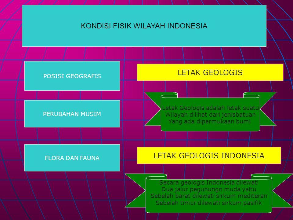 KONDISI FISIK WILAYAH INDONESIA POSISI GEOGRAFIS PERUBAHAN MUSIM FLORA DAN FAUNA LETAK GEOLOGIS Secara geologis Indonesia dilewati Dua jalur pegunungn