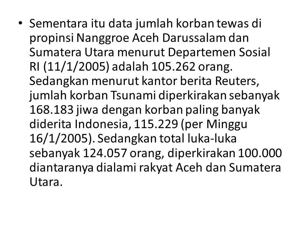 Sementara itu data jumlah korban tewas di propinsi Nanggroe Aceh Darussalam dan Sumatera Utara menurut Departemen Sosial RI (11/1/2005) adalah 105.262