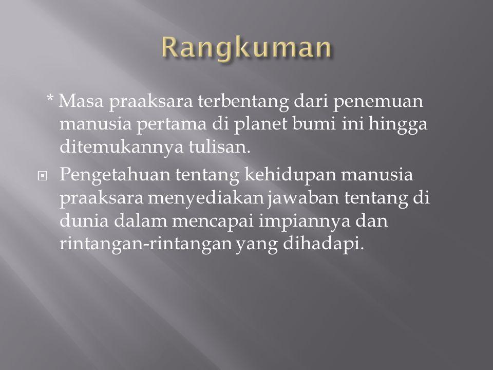 * Masa praaksara terbentang dari penemuan manusia pertama di planet bumi ini hingga ditemukannya tulisan.