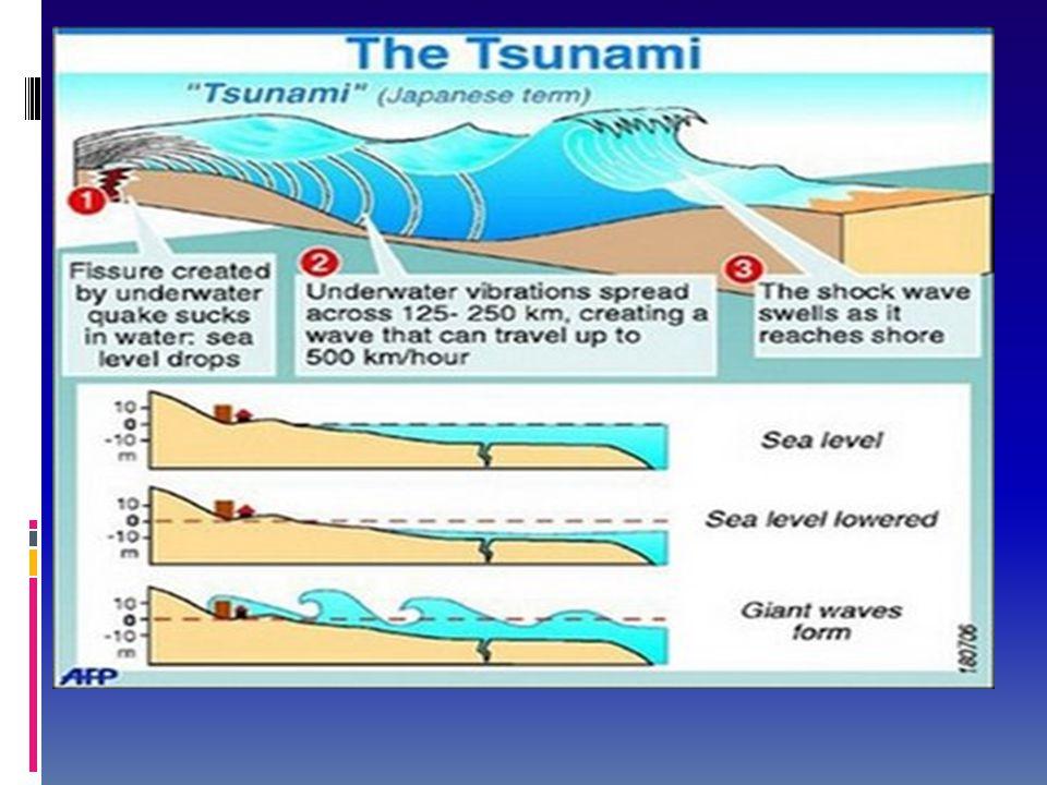 Proses Terjadinya Tsunami (lanjutan..)  Tenaga yang ditimbulkan setiap tsunami adalah tetap, baik ketinggiannya maupun kelajuannya. sehingga apabila