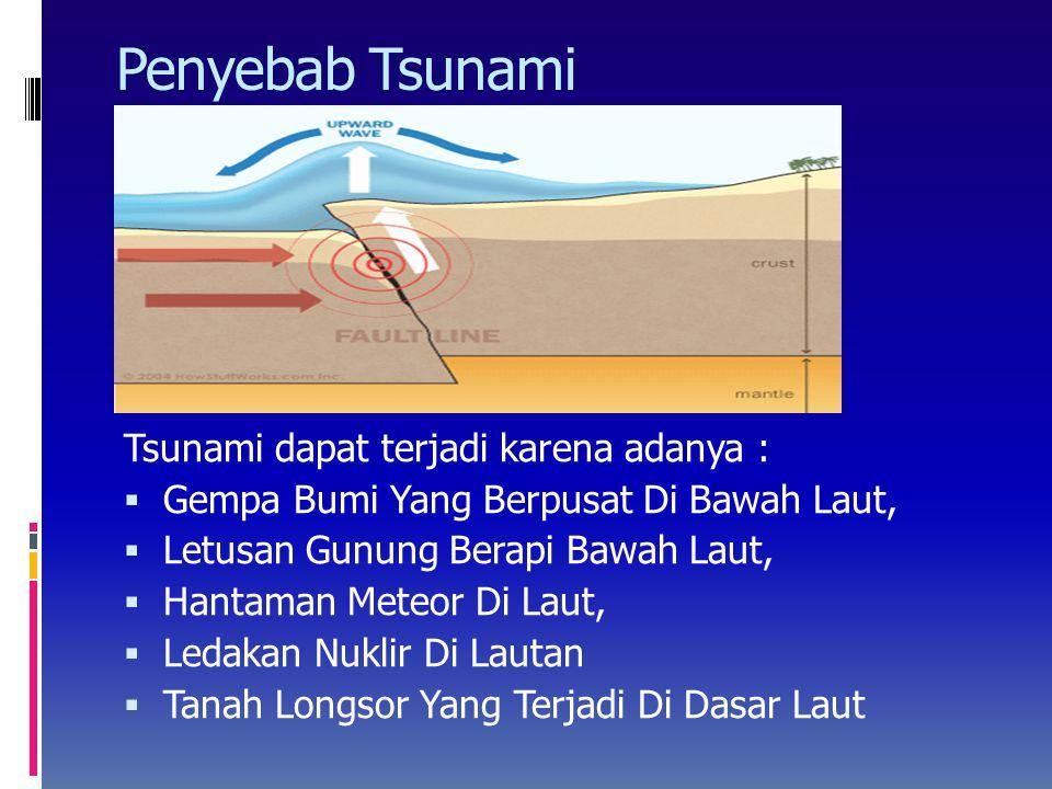 Penyebab Tsunami Tsunami dapat terjadi karena adanya :  Gempa Bumi Yang Berpusat Di Bawah Laut,  Letusan Gunung Berapi Bawah Laut,  Hantaman Meteor Di Laut,  Ledakan Nuklir Di Lautan  Tanah Longsor Yang Terjadi Di Dasar Laut