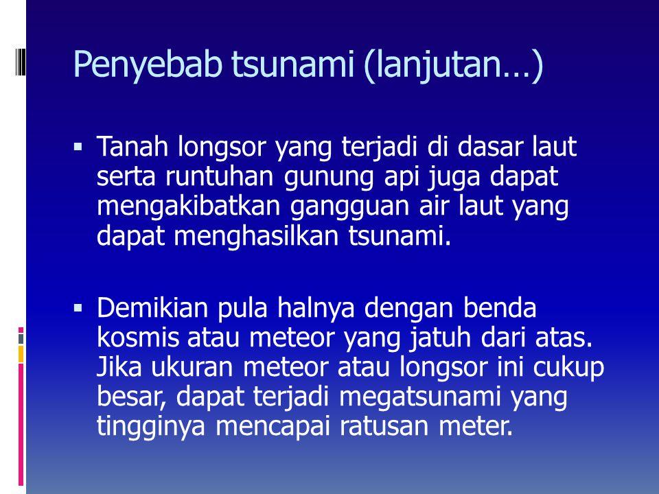 Hubungan antara besaran tsunami (m) dengan kekuatan gempa (M)  Besaran tsunami berkaitan erat dengan kekuatan gempa (lihat Gambar 16)  Garis sebelah kanan adalah garis yang dikembangkan di Jepang berdasarkan pencatatan tsunami yang cukup banyak  Sedangkan garis sebelah kiri adalah perkiraan dari hubungan antara kedua parameter untuk tsunami di Indonesia, berdasarkan data yang terbatas