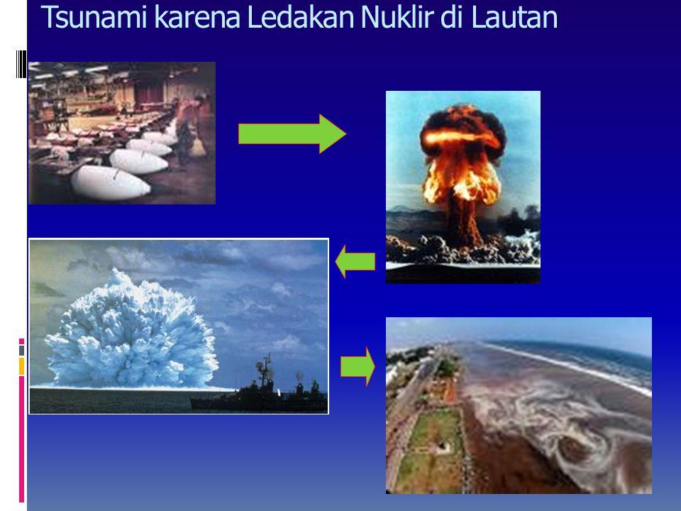 Tsunami karena hantaman meteor Benda kosmis atau meteor yang jatuh jika ukuran meteor cukup besar, dapat terjadi megatsunami yang tingginya mencapai r