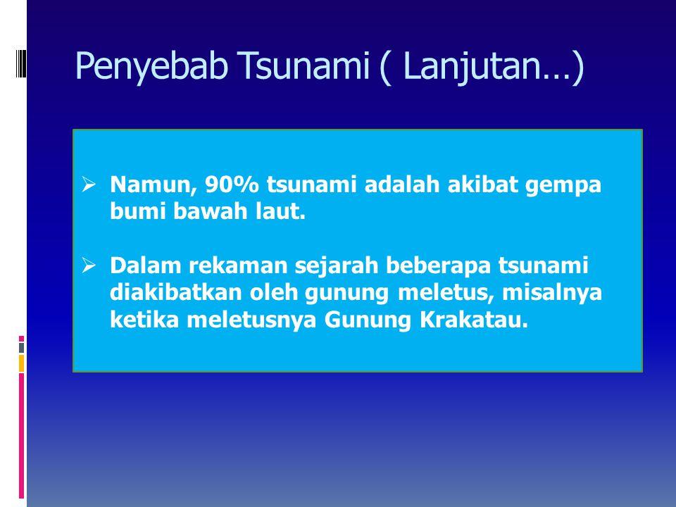 Namun, 90% tsunami adalah akibat gempa bumi bawah laut.