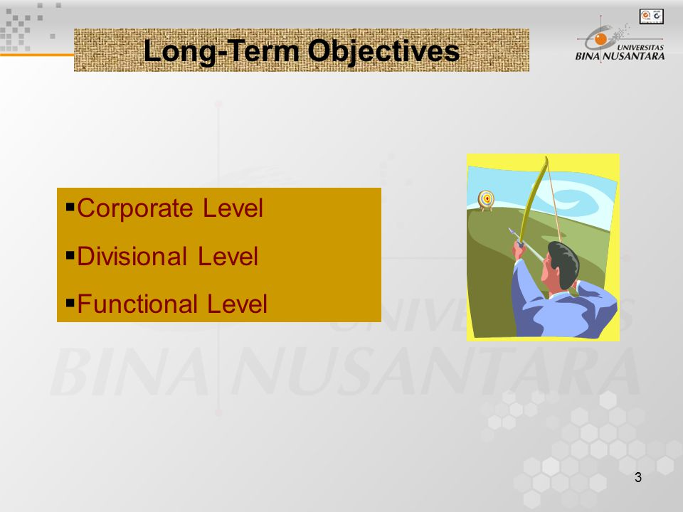 3 Long-Term Objectives  Corporate Level  Divisional Level  Functional Level