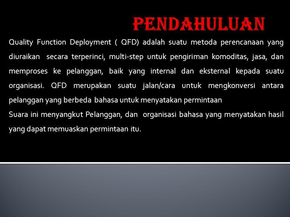 Quality Function Deployment ( QFD) adalah suatu metoda perencanaan yang diuraikan secara terperinci, multi-step untuk pengiriman komoditas, jasa, dan