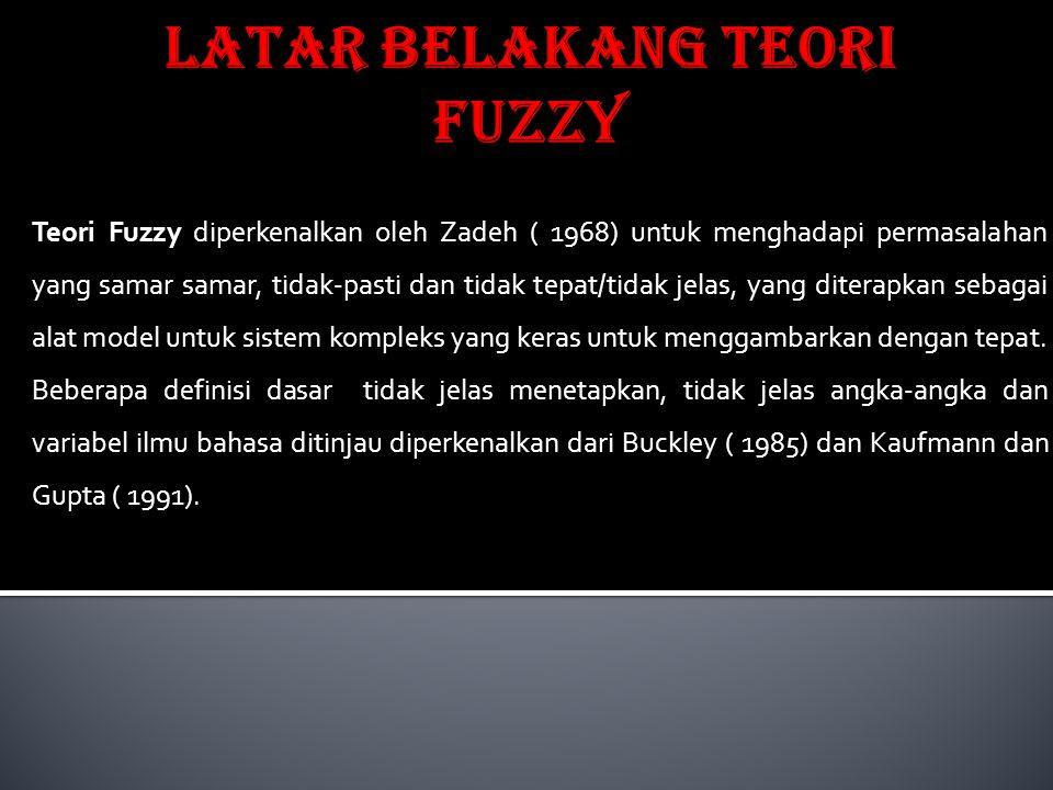 Teori Fuzzy diperkenalkan oleh Zadeh ( 1968) untuk menghadapi permasalahan yang samar samar, tidak-pasti dan tidak tepat/tidak jelas, yang diterapkan