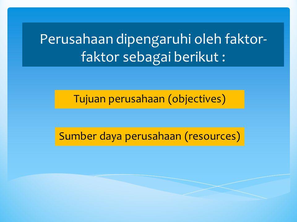 Perusahaan dipengaruhi oleh faktor- faktor sebagai berikut : Tujuan perusahaan (objectives) Sumber daya perusahaan (resources)