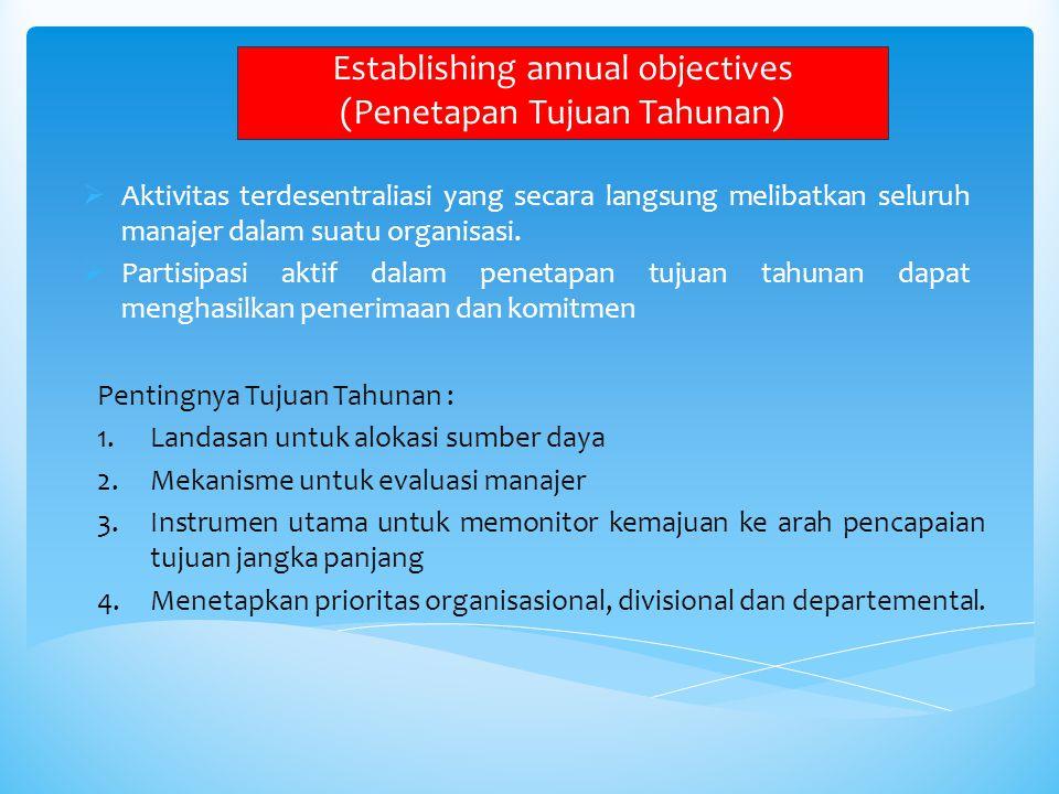 Establishing annual objectives (Penetapan Tujuan Tahunan)  Aktivitas terdesentraliasi yang secara langsung melibatkan seluruh manajer dalam suatu org
