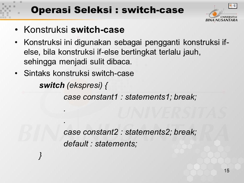 15 Operasi Seleksi : switch-case Konstruksi switch-case Konstruksi ini digunakan sebagai pengganti konstruksi if- else, bila konstruksi if-else bertin