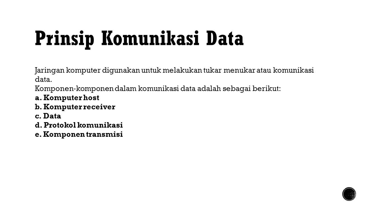 Prinsip Komunikasi Data Jaringan komputer digunakan untuk melakukan tukar menukar atau komunikasi data. Komponen ‐ komponen dalam komunikasi data adal