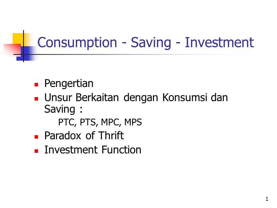 1 Consumption - Saving - Investment Pengertian Unsur Berkaitan dengan Konsumsi dan Saving : PTC, PTS, MPC, MPS Paradox of Thrift Investment Function