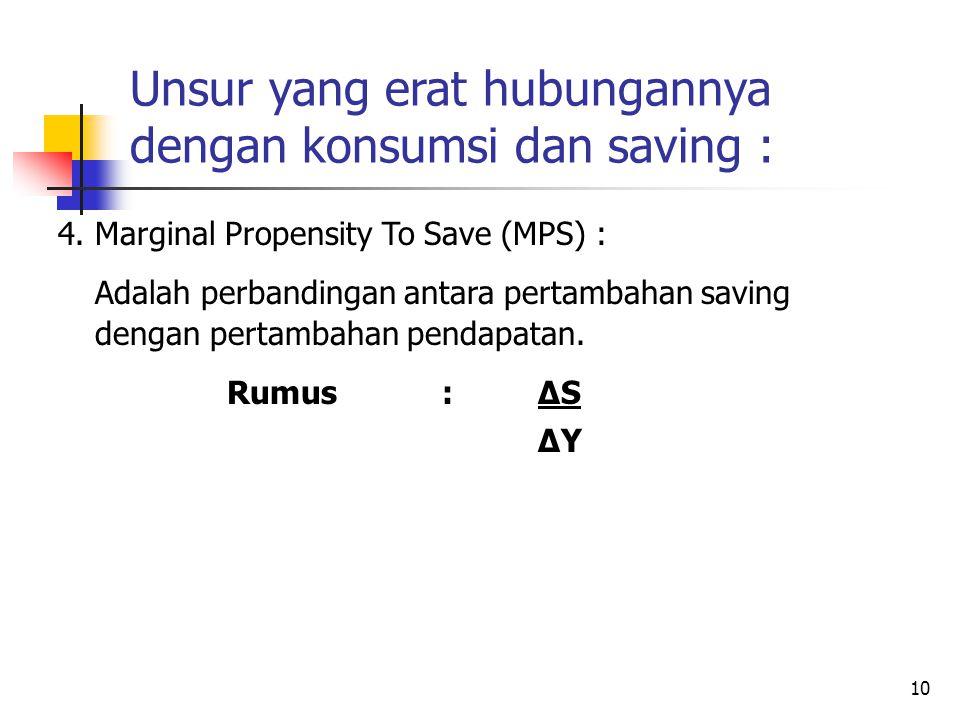 10 Unsur yang erat hubungannya dengan konsumsi dan saving : 4.Marginal Propensity To Save (MPS) : Adalah perbandingan antara pertambahan saving dengan