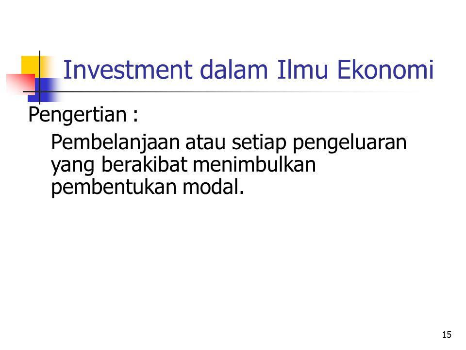 15 Investment dalam Ilmu Ekonomi Pengertian : Pembelanjaan atau setiap pengeluaran yang berakibat menimbulkan pembentukan modal.