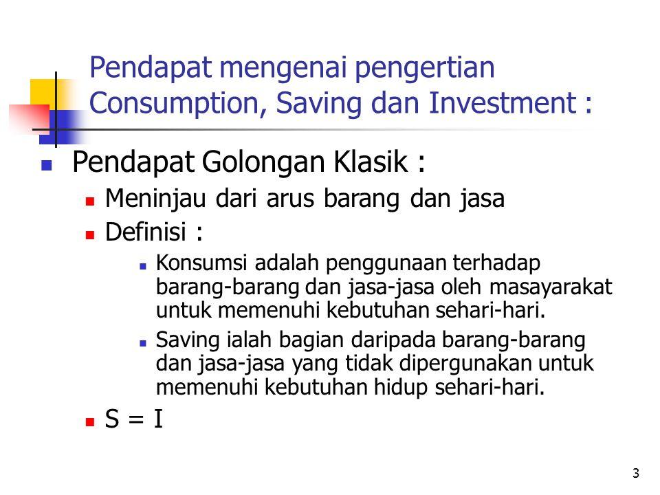 4 Pendapat mengenai pengertian Consumption, Saving dan Investment : Pendapat Golongan Keynes : Uang memegang peranan penting Definisi : Konsumsi ialah pengeluaran uang yang ditujukan untuk pembelanjaan barang-barang dan jasa-jasa guna keperluan sehari-hari.