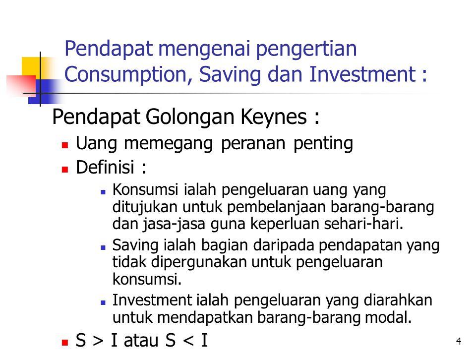 4 Pendapat mengenai pengertian Consumption, Saving dan Investment : Pendapat Golongan Keynes : Uang memegang peranan penting Definisi : Konsumsi ialah