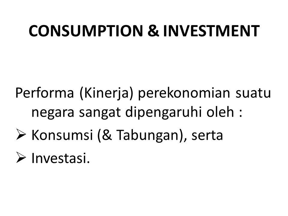 CONSUMPTION & INVESTMENT Di antara indikator kinerja (performa) perekonomian adalah :  Economic Growth (Pertumbuhan Ekonomi)  Unemployment (Pengangguran)