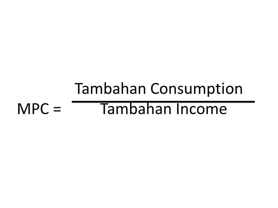 Tambahan Consumption MPC = Tambahan Income
