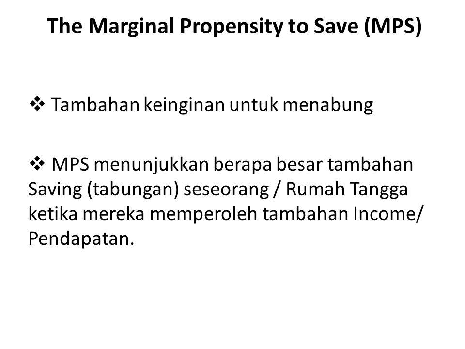 The Marginal Propensity to Save (MPS)  Tambahan keinginan untuk menabung  MPS menunjukkan berapa besar tambahan Saving (tabungan) seseorang / Rumah Tangga ketika mereka memperoleh tambahan Income/ Pendapatan.