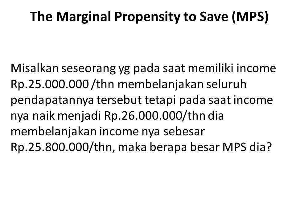 The Marginal Propensity to Save (MPS) Misalkan seseorang yg pada saat memiliki income Rp.25.000.000 /thn membelanjakan seluruh pendapatannya tersebut tetapi pada saat income nya naik menjadi Rp.26.000.000/thn dia membelanjakan income nya sebesar Rp.25.800.000/thn, maka berapa besar MPS dia?