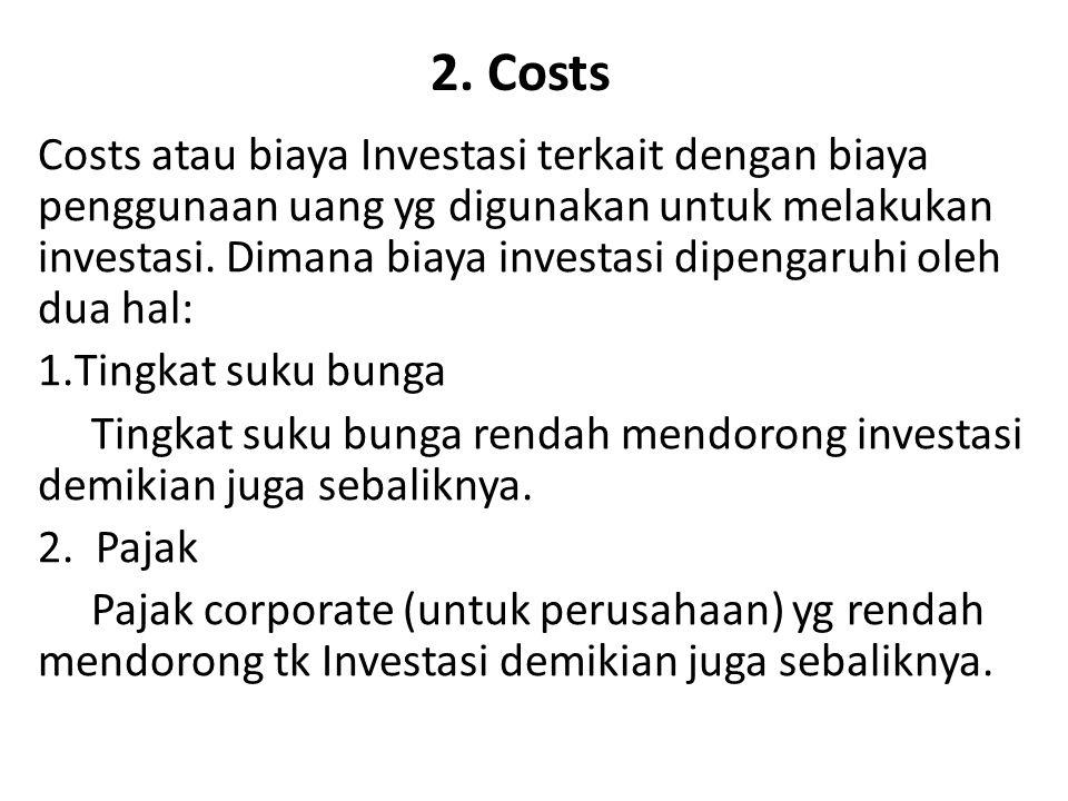 2. Costs Costs atau biaya Investasi terkait dengan biaya penggunaan uang yg digunakan untuk melakukan investasi. Dimana biaya investasi dipengaruhi ol