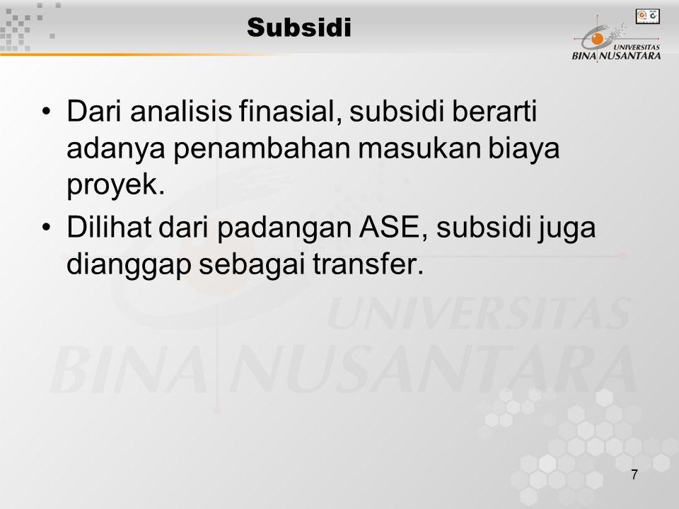 7 Subsidi Dari analisis finasial, subsidi berarti adanya penambahan masukan biaya proyek. Dilihat dari padangan ASE, subsidi juga dianggap sebagai tra