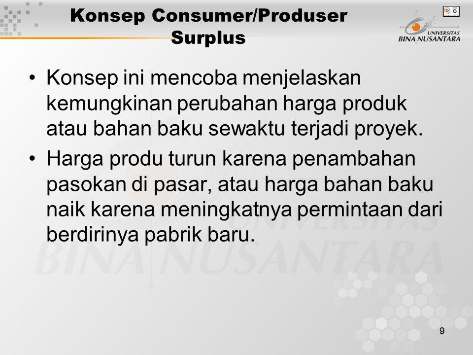 9 Konsep Consumer/Produser Surplus Konsep ini mencoba menjelaskan kemungkinan perubahan harga produk atau bahan baku sewaktu terjadi proyek. Harga pro