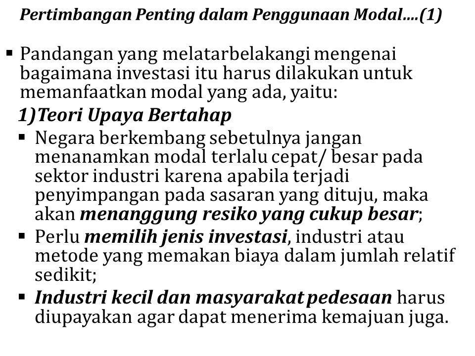 Pertimbangan Penting dalam Penggunaan Modal….(1)  Pandangan yang melatarbelakangi mengenai bagaimana investasi itu harus dilakukan untuk memanfaatkan