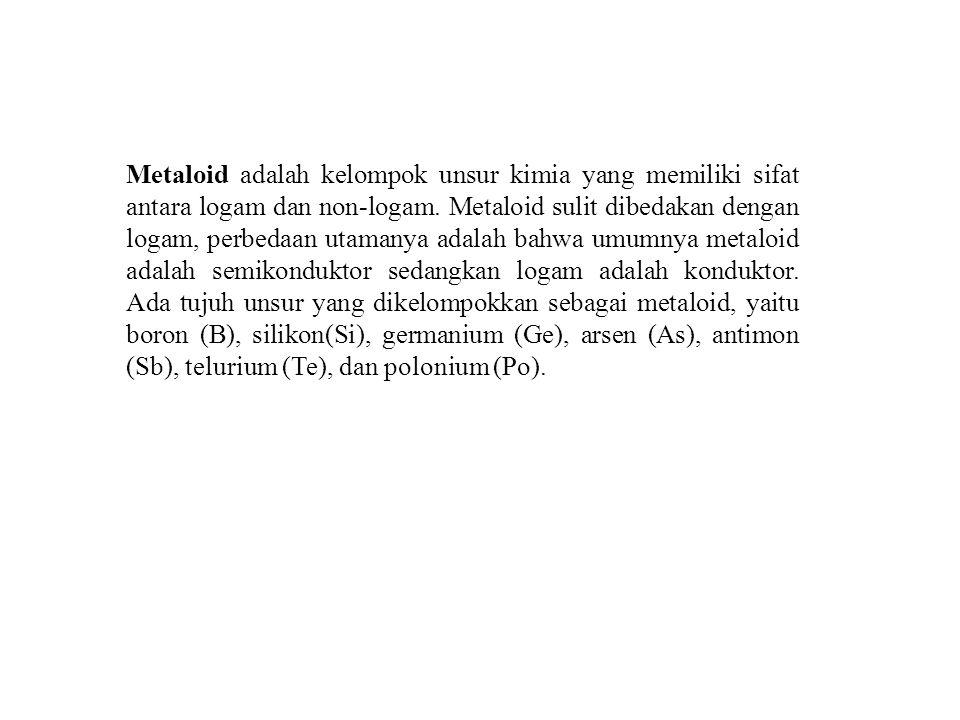 Metaloid adalah kelompok unsur kimia yang memiliki sifat antara logam dan non-logam. Metaloid sulit dibedakan dengan logam, perbedaan utamanya adalah