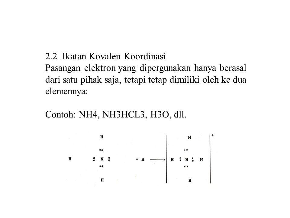 2.2 Ikatan Kovalen Koordinasi Pasangan elektron yang dipergunakan hanya berasal dari satu pihak saja, tetapi tetap dimiliki oleh ke dua elemennya: Con