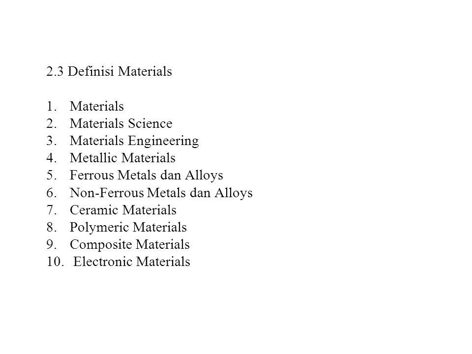 2.3 Definisi Materials 1.Materials 2.Materials Science 3.Materials Engineering 4.Metallic Materials 5.Ferrous Metals dan Alloys 6.Non-Ferrous Metals d