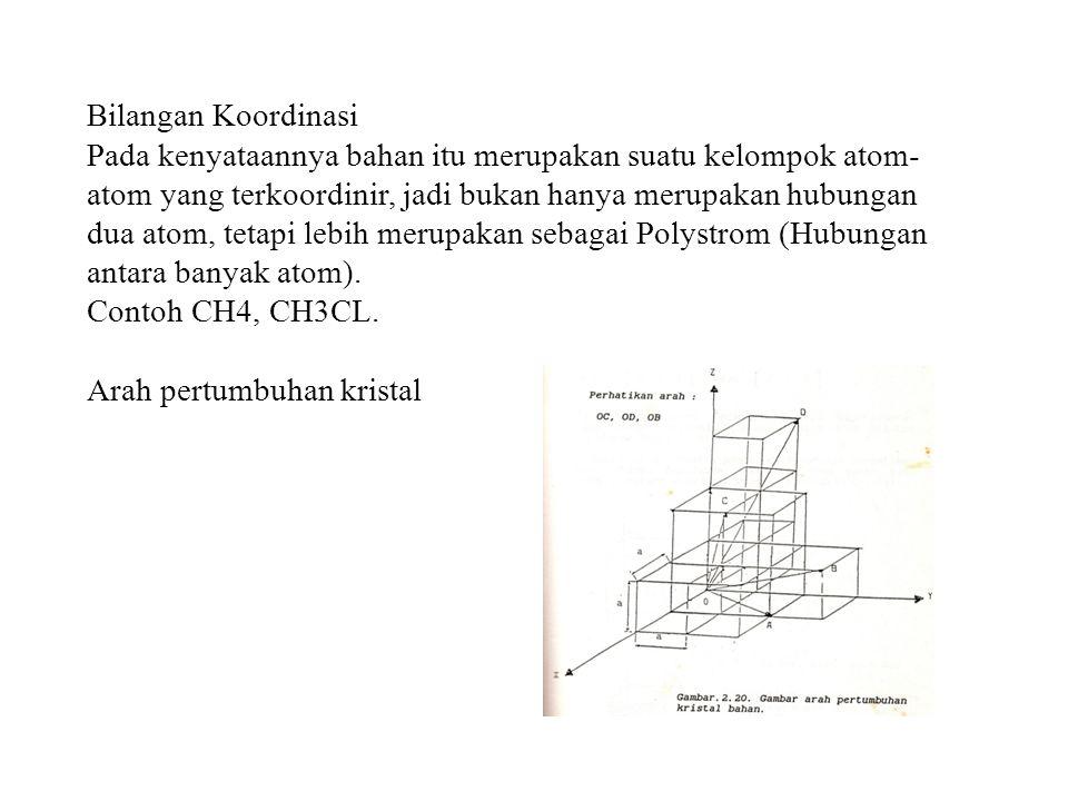 Bilangan Koordinasi Pada kenyataannya bahan itu merupakan suatu kelompok atom- atom yang terkoordinir, jadi bukan hanya merupakan hubungan dua atom, t