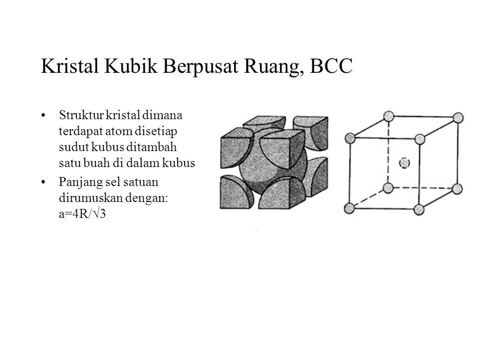 Kristal Kubik Berpusat Ruang, BCC Struktur kristal dimana terdapat atom disetiap sudut kubus ditambah satu buah di dalam kubus Panjang sel satuan diru
