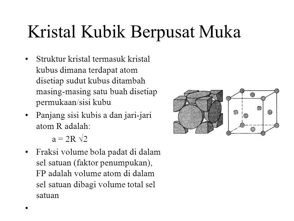 Kristal Kubik Berpusat Muka Struktur kristal termasuk kristal kubus dimana terdapat atom disetiap sudut kubus ditambah masing-masing satu buah disetia