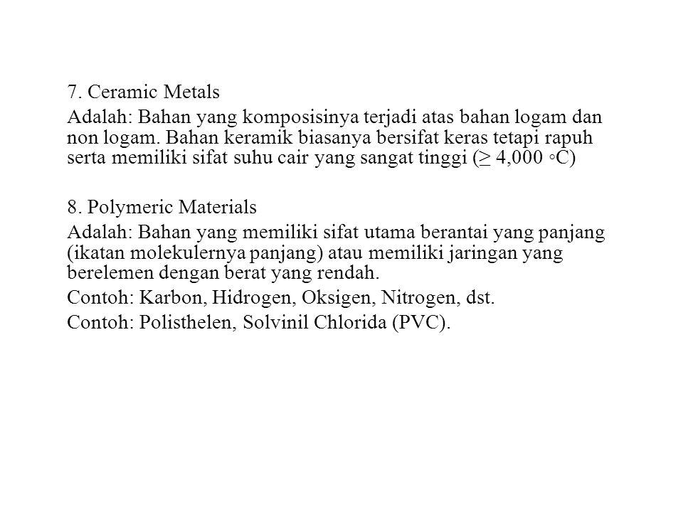 7. Ceramic Metals Adalah: Bahan yang komposisinya terjadi atas bahan logam dan non logam. Bahan keramik biasanya bersifat keras tetapi rapuh serta mem