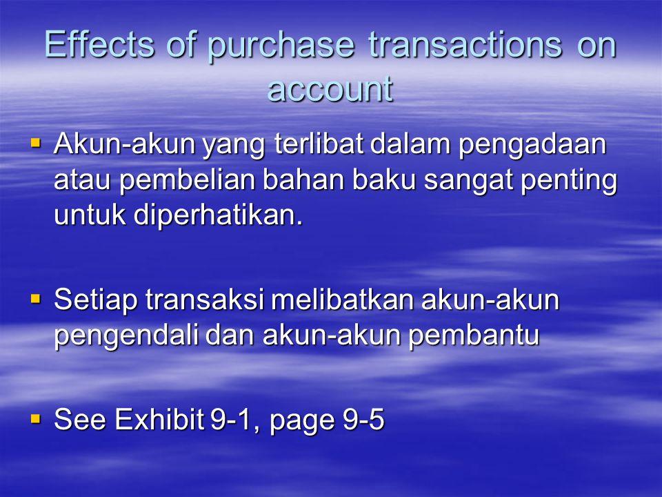 Effects of purchase transactions on account  Akun-akun yang terlibat dalam pengadaan atau pembelian bahan baku sangat penting untuk diperhatikan.  S