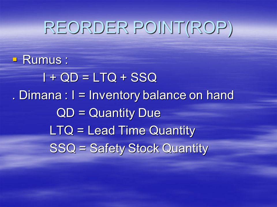 REORDER POINT(ROP)  Rumus : I + QD = LTQ + SSQ I + QD = LTQ + SSQ.