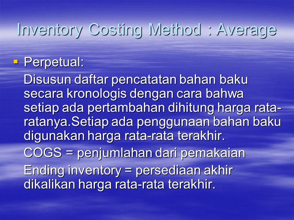 Inventory Costing Method : Average  Periodical : Harga rata-rata = semua biaya/semua unit Harga rata-rata = semua biaya/semua unit COGS = jumlah pemakaian x harga rata2 COGS = jumlah pemakaian x harga rata2 Ending inventory = unit belum dipakai x Ending inventory = unit belum dipakai x harga rata-rata harga rata-rata.