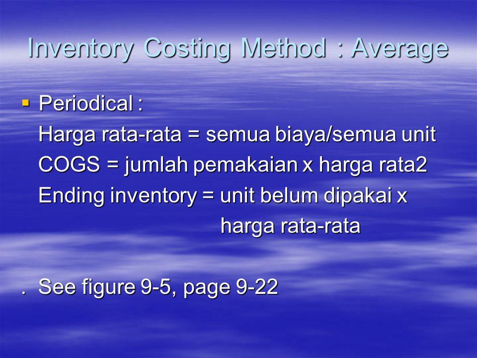 Inventory Costing Method : Average  Periodical : Harga rata-rata = semua biaya/semua unit Harga rata-rata = semua biaya/semua unit COGS = jumlah pema