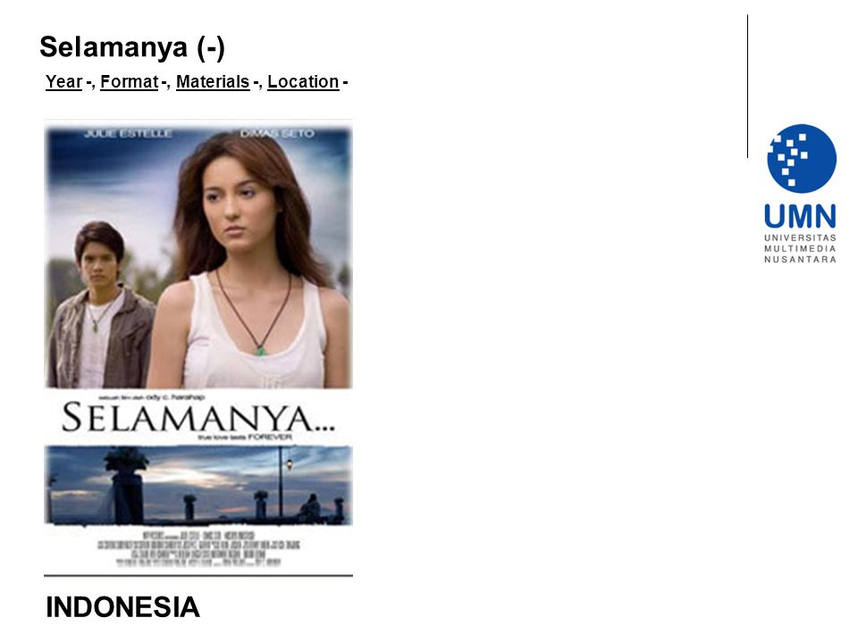 Year -, Format -, Materials -, Location - INDONESIA Selamanya (-)