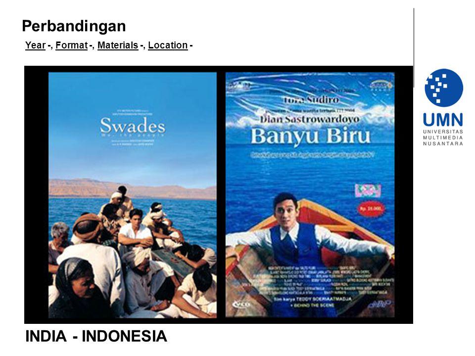 Year -, Format -, Materials -, Location - INDIA - INDONESIA Perbandingan