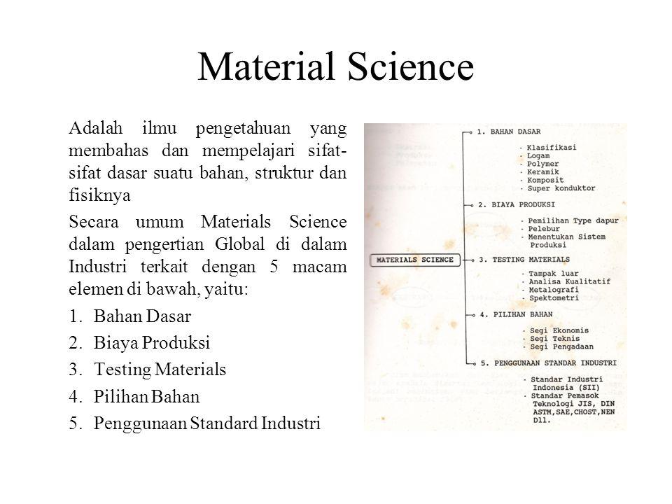 Material Science Adalah ilmu pengetahuan yang membahas dan mempelajari sifat- sifat dasar suatu bahan, struktur dan fisiknya Secara umum Materials Sci
