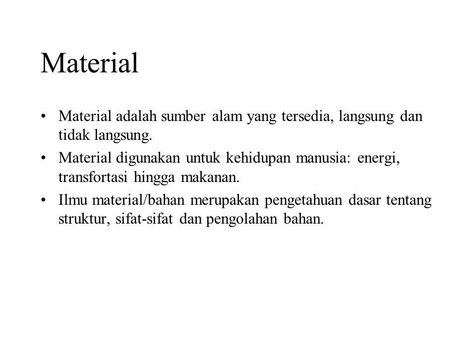 Ilmu pengetahuan material Untuk mengetahui struktur material (atomik dan komposisi gabungannya) Untuk mengetahui sifat / karakter material dilihat dari kemampuannya menerima perlakuan dari luar (sifat: mekanik, listrik, termal, magnet, optik dan sifat penurunan kualitasnya (deterionatif))