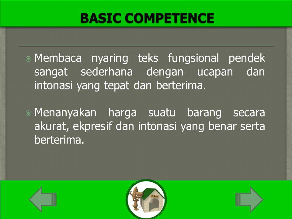  Membaca nyaring teks fungsional pendek sangat sederhana dengan ucapan dan intonasi yang tepat dan berterima.