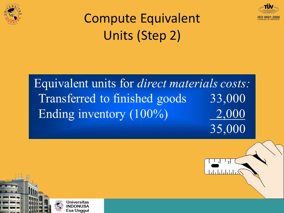 Compute Equivalent Units (Step 2) Equivalent units for direct materials costs: Transferred to finished goods33,000 Ending inventory (100%) 2,000 35,00