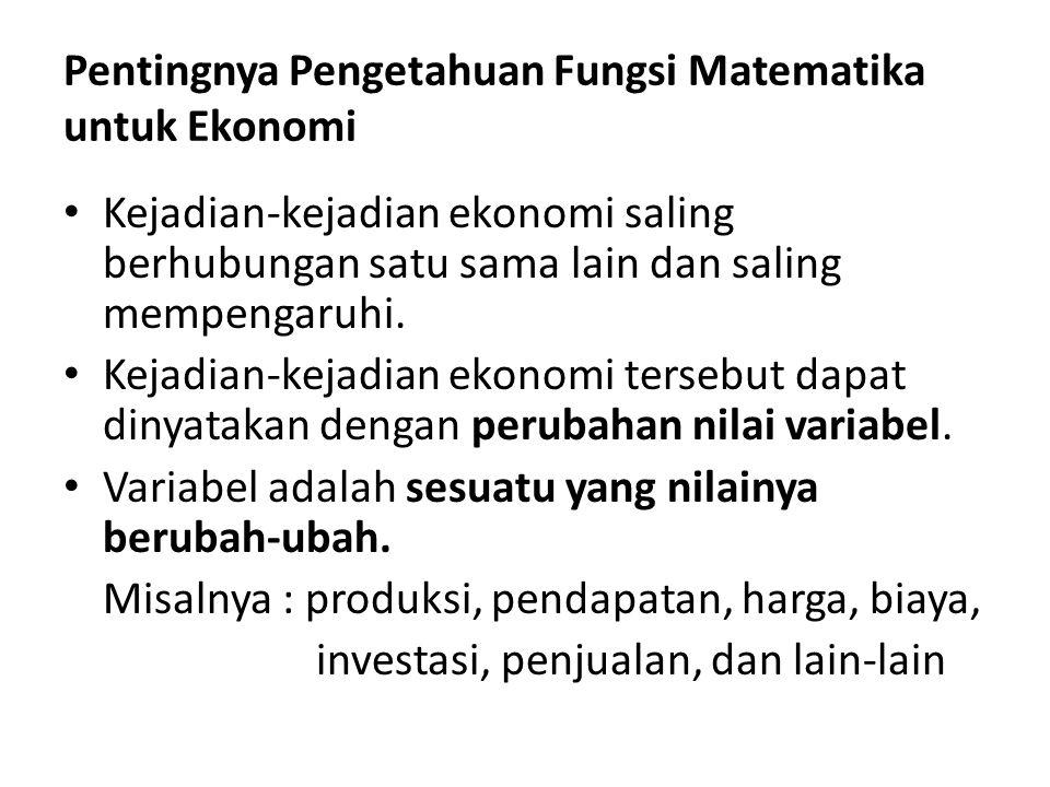 Pentingnya Pengetahuan Fungsi Matematika untuk Ekonomi Kejadian-kejadian ekonomi saling berhubungan satu sama lain dan saling mempengaruhi. Kejadian-k