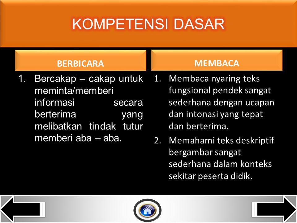 BERBICARA 1.Mengungkap instruksi dani informasi sangat sederhana dalam konteks sekitar peserta didik.