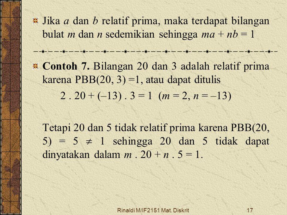 Rinaldi M/IF2151 Mat. Diskrit17 Jika a dan b relatif prima, maka terdapat bilangan bulat m dan n sedemikian sehingga ma + nb = 1 Contoh 7. Bilangan 20