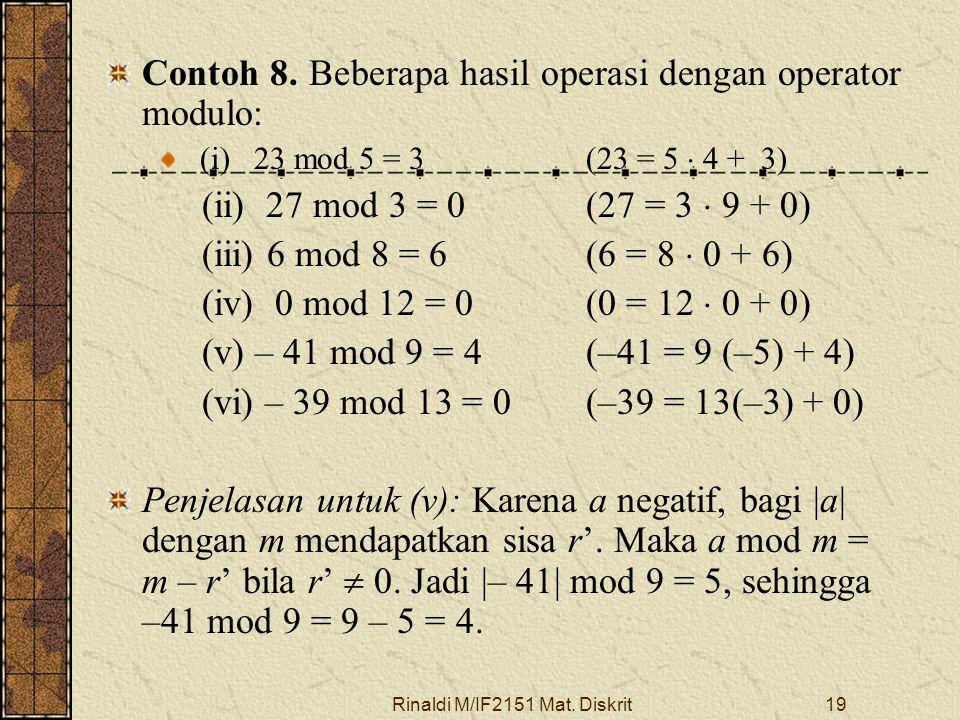 Rinaldi M/IF2151 Mat. Diskrit19 Contoh 8. Beberapa hasil operasi dengan operator modulo: (i) 23 mod 5 = 3(23 = 5  4 + 3) (ii) 27 mod 3 = 0(27 = 3  9