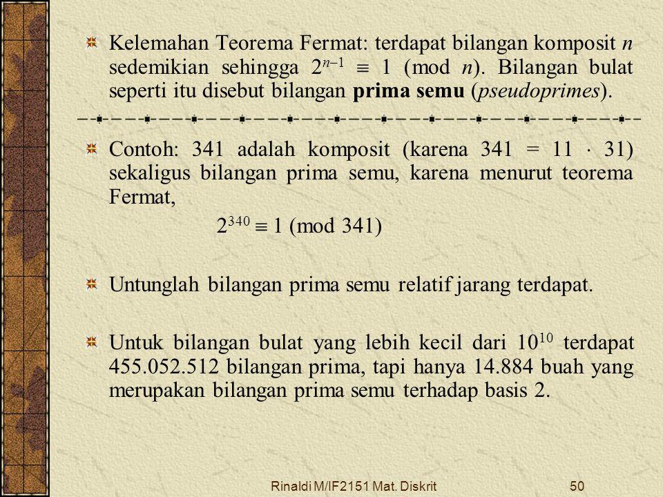 Rinaldi M/IF2151 Mat. Diskrit50 Kelemahan Teorema Fermat: terdapat bilangan komposit n sedemikian sehingga 2 n–1  1 (mod n). Bilangan bulat seperti i